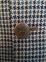 Men DISCO Retro Blue Plaid Jacket Sport Coat KNIT Blazer Vintage 70's SZ 36R