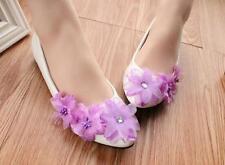 Decolté decolte scarpe donna ballerina bianco viola pizzo evento 3.5, 4.5  9350