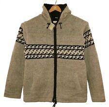 Strickjacke beige grau Gr.XL, Jacke 100% Wolle,Fleece-Futter Kapuze, Nepal Ethno