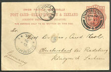 Reina Victoria 1d Upu Post Card Stafford estación Cds 1898 rocester