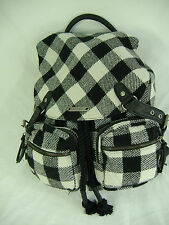 New ROXY More Ways Than One White Black Backpack Messenger Book Bag Cotton Wool