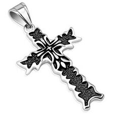 Stainless Steel Double Cross Flame Pendant P287