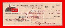 1952 Coca Cola Tell City Ind Old Bottling Co Check #47