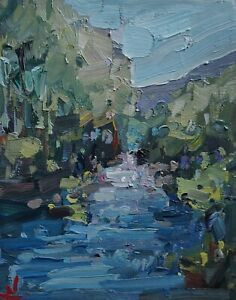 WATERFALL TREES LANDSCAPE OIL PAINTING BY ARTIST VIVEK MANDALIA IMPRESSIONISM