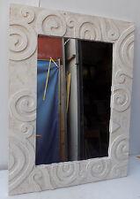 Spiegel hölzern intarsien holz abgelagert cm 120x80 weiß eingelegte spiralen
