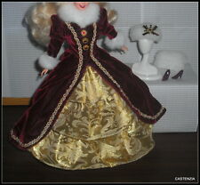 OUTFIT BARBIE DOLL HAPPY HOLIDAYS FAUX FUR BURGUNDY WHITE & GOLD DRESS HAT SHOES