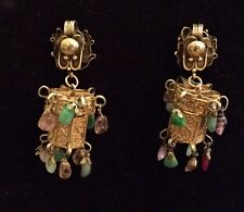 Large Antique Vintage Chinese Gilt Silver Dragon Jade Dangling Earrings
