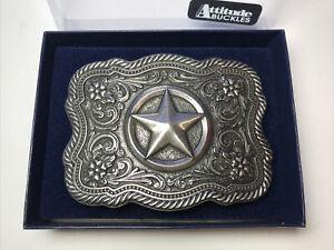 Montana Silversmiths Antiqued Silver Texas Star Filigree Attitude Buckles