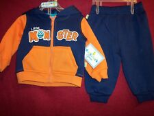 LITTLE MONSTER 2 Pc Sweat Tracksuit Hoodie Pullover and Pants Size 3-6m NEW