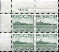 Mint NH Canada Nfdland 1941-44 Block of 4 VF 20c Scott #263 Definitive Stamps