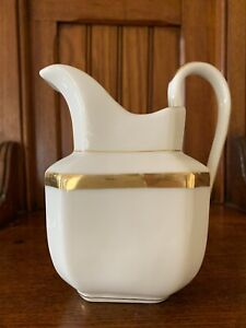 Antique French Small Pitcher White With Gold Trim Hand Crafted Used Good Cdn
