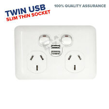 USB 2x Twin Power point DGPO Wafer Slim Thin Socket Outlet 2.1A 5v Fast Charge