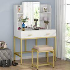 Vanity Set Dressing Table with Mirror Drawers & Stool Elegant Bedroom Furniture