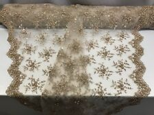 Lace Fabric - Bridal Mesh Skin With Embroidery Beaded & Sequins By The Yard