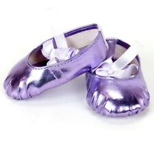 18 inch Girl Doll Shoes Ballet Slippers Shoes Lt Purple Metallic American seller