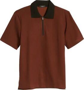 NWT Theory 'Carsone' Pimento Red Black Studio Pique Casual Polo Shirt S Small