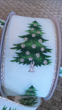 """Ribbon Christmas Tree w/ Gold Accents Wire Edge Holiday Ribbon 2.5"""" 5 yds"""