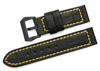 24mm Vintage Genuine Leather Watch Band Strap Black PVD Tang Buckle For Panerai