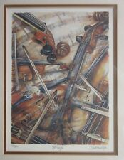 Strings by Sue Martin - Violins Music - Mounted Signed Limited Edition Art Print
