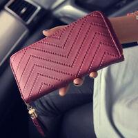 Women Leather Tassel Long Clutch Wallet Card Holder Purse Handbag Envelope Bag