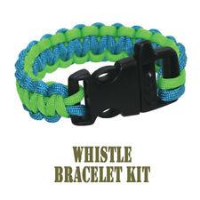 PEPPERELL 550 Parachute Cord Blue/Green Whistle Buckle Bracelet Kit