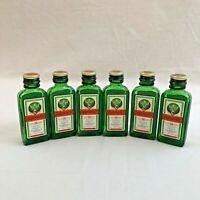 Jagermeister Mini Liquor 6 Empty Glass Bottles 20 ml 2.25 oz Green Craft Germany