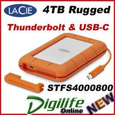 LaCie 4TB Rugged USB-C Thunderbolt Portable External Hard Disk Drive
