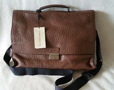 NWT Burberry Sandgate Briefcase Messenger Grain Leather Crossbody Flax Brown Bag