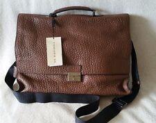 NWT Burberry Sandgate Briefcase Messenger Grain Leather Crossbody Flax Brown Bag