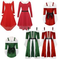 Women's Velvet Christmas Mrs Miss Santa Claus Cosplay Party Fancy Dress Costume