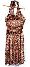 Studio Y Women's Red Brown Strapless Cinched Waist Sheer Midi Dress M