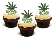 420 Hash Leaf Stand Up Premium Card Cake Toppers