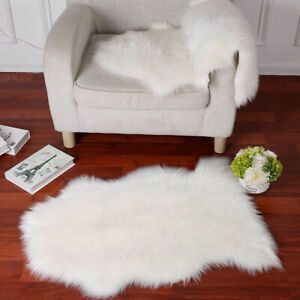 Luxury Faux Sheepskin Fur Area Rug Cozy Throw Bedroom Fluffy Hairy Mat Blanket