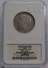 5 ZLOTYCH ZLOTIES POLAND 1932 POLONIA w/o mint mark VF20 SILVER