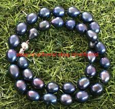 "Natural Pearl 8-9MM Tahitian Black Blue Rice Pearl Necklace 18"""