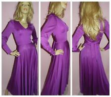 70s PURPLE STARLET DISCO MAXI DRESS 6 XS 1970s EVENING DEEP CUFFS BOHEMIAN