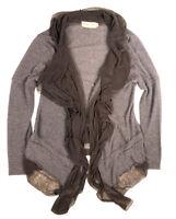 Pretty Angel M Brown Drape Front Cardigan Sweater Ruffled Open Top Linen