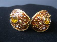 Vintage Enamel & Wire Rhinestone Curved Ear Rings & Yellow Diamond Center Stone