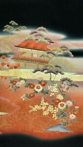 Vintage SILK Japanese Kimono TOMESODE Fabric Panel  #439