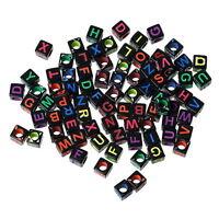 500 Mix Acryl Perlen Beads Würfel Gravur Buchstaben Schwarz 6mm