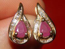 & Pear Shape Ruby Fancy Halo Earrings New listing 14K Solid Yellow Gold 1.20 Tcw Diamond