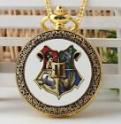 Harry Potter Quartz Pocket Watch Hogwarts golden antique enamel   with gift box