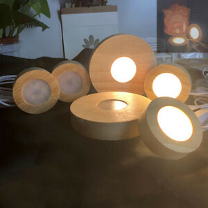 LED Lights Display Base Stand Round Wooden Lamp Holder USB Resin Epoxy Ornament