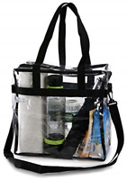 Clear Tote Shoulder Straps and Zippered Top Perfect Clear Bag for Work / School