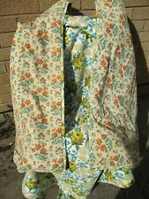 """Vintage 50s Fabric Home Made Bed Cover Throw 60 x 98 """""""