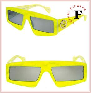 GUCCI 0358 Fluorescent Lime Green Pearl Geometric Mask Sunglasses GG0358S Unisex