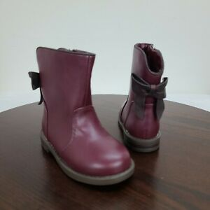 Cat & Jack Toddler Girls Boots Maroon Size 8 Zip Bow Round Toe