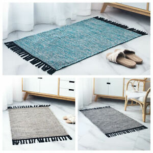 Handmade Cotton Bohemian Style Rugs Floor Mats Washable Non-slip for Living Room