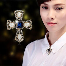 """1.75"""" LARGE ANTIQUE TONE CROSS BROOCH WITH CREAM PEARL & BLUE SQUARE IN CENTER"""