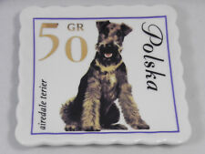 Doghaus Airedale Terrier Dog Plate Ceramic Catch All Tray Dog Lovers Stamp 4""
